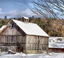 Berkshire Barn In Winter by Deborah  Benoit