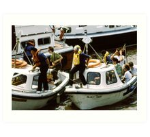 Small boats, River Thames, London, UK Art Print