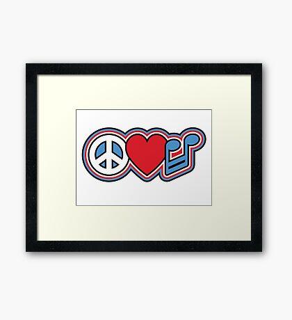 PEACE LOVE MUSIC Symbols Framed Print