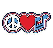 PEACE LOVE MUSIC Symbols Photographic Print