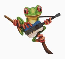 Tree Frog Playing Estonian Flag Guitar One Piece - Short Sleeve