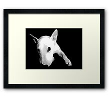English Bull Terrier Dog, Black and White Pop Art Print Framed Print
