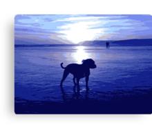Staffordshire Bull Terrier on Beach in Blue, Pop Art Print Canvas Print