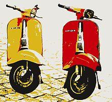 Vespa Scooters on Cobble Street, Pop Art by Michael Tompsett