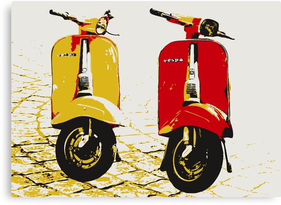 Vespa Scooters on Cobble Street, Pop Art by Michael Tompsett