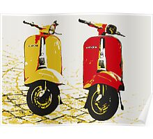 Vespa Scooters on Cobble Street, Pop Art Poster