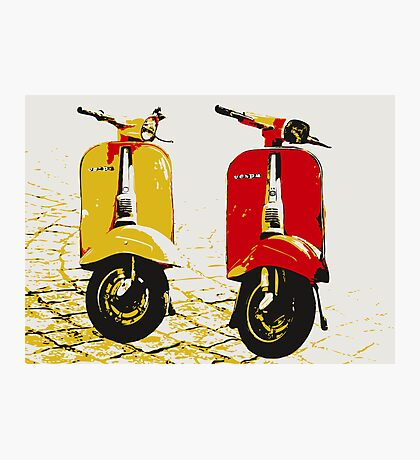 Vespa Scooters on Cobble Street, Pop Art Photographic Print