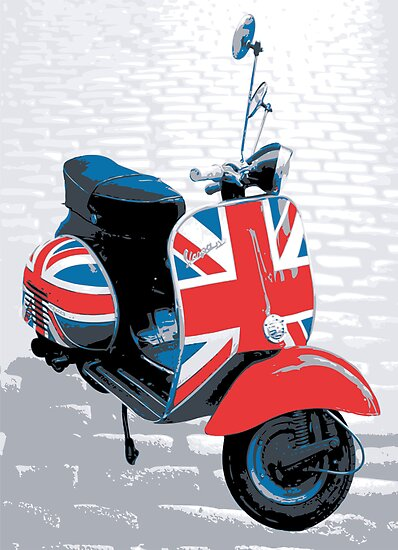 Vespa Scooter - Mod Decoration, Pop Art Print by Michael Tompsett
