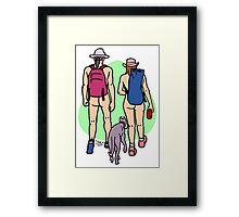 Bare Dog Walking Couple Framed Print
