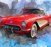 Red 57' Corvette Convertible by ezcat