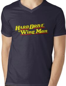 Hard Drive and Wing Man Mens V-Neck T-Shirt