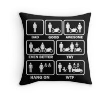 Funny motorcycle joke shirt Throw Pillow