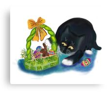 Kitten is Raiding the Easter Basket  Canvas Print