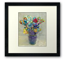 Bouquet of Hearts on Sticks Framed Print