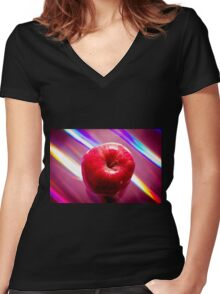 Futuristic red apple Women's Fitted V-Neck T-Shirt