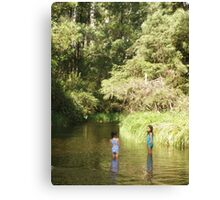 Two Little Girls trying to cool down Canvas Print