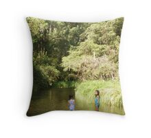 Two Little Girls trying to cool down Throw Pillow