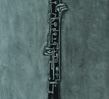 Oboe Charcoal Drawing by Itchytoenail