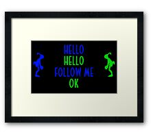 Abe's Hello (Blue & Green Retro) Framed Print