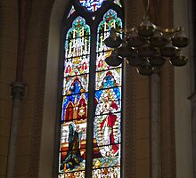 Stained Glass Window, Church of the Sacred Heart of Jesus, Ljubljana, Slovenia by Margaret  Hyde