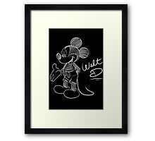Mickey Mouse - White Sketch. Framed Print