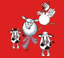 Humorous cartoon farm animals One Piece - Short Sleeve