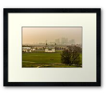 A Winter Afternoon at Greenwich - View of Queen's House and Canary Warf, England Framed Print