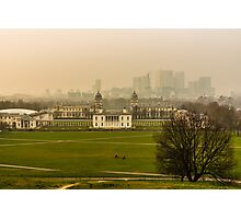 A Winter Afternoon at Greenwich - View of Queen's House and Canary Warf, England Photographic Print