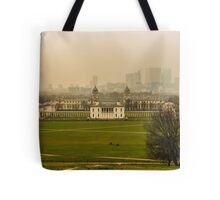 A Winter Afternoon at Greenwich - View of Queen's House and Canary Warf, England Tote Bag