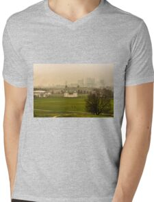 A Winter Afternoon at Greenwich - View of Queen's House and Canary Warf, England Mens V-Neck T-Shirt