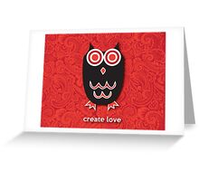 Create Love - Owl Red Greeting Card