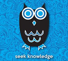 Seek Knowledge - Owl Blue by mediummania
