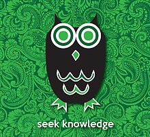 Seek Knowledge - Owl Green by mediummania