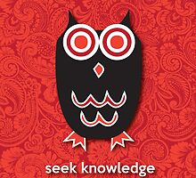 Seek Knowledge - Owl Red by mediummania