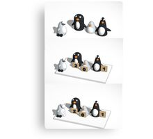 Robo penguin researching real penguins who rate him for realism and throw snow balls at him Canvas Print