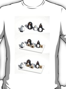 Robo penguin researching real penguins who rate him for realism and throw snow balls at him T-Shirt