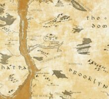Fantasy Map of New York City: Gold Parchment Sticker