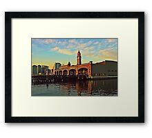 N J Transit Clock Tower Hoboken Framed Print