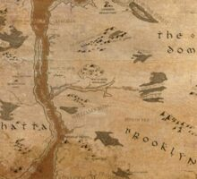 Fantasy Map of New York City: Gritty Parchment Sticker