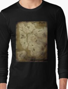 Fantasy Map of New York City: Dirty Parchment Long Sleeve T-Shirt