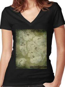 Fantasy Map of New York City: Green Parchment Women's Fitted V-Neck T-Shirt