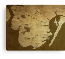 Fantasy Map of Brooklyn: Brown Parchment Canvas Print