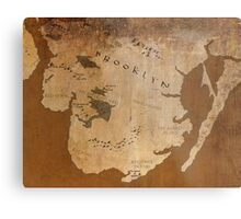 Fantasy Map of Brooklyn: Gritty Parchment Metal Print