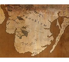 Fantasy Map of Brooklyn: Gritty Parchment Photographic Print