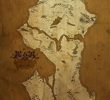 Fantasy Map of Seattle: Brown Parchment by MidgardMaps