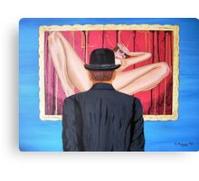 Man with bowler in front of nude Canvas Print