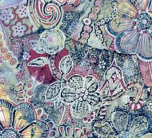 Flowers 22 Aussie Tangled Acrylic Monoprint by Heatherian