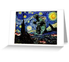 Godzilla versus Starry Night Greeting Card