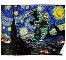 Godzilla versus Starry Night Poster