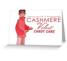 Cashmere Velvet Candy Cane Greeting Card